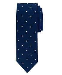 Ciemnoniebieski jedwabny krawat ze wzorem profuomo