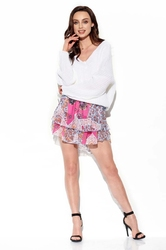 zwiewna wzorzysta mini spódnica z jedwabiem - druk 16