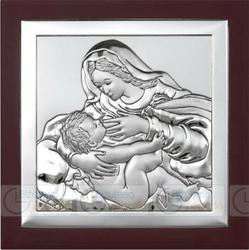 Obrazek BC64295WM Matka Boska Karmiąca na ciemnym drewienku 24 x 24 cm.