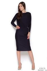 Czarna Wizytowa Sukienka z Wiązaniem na Plecach