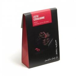 Czekoladowe listki. czekolada gorzka i wiśnia - wyjątkowo cienkie kawałki czekolady z wybornymi dodatkami, idealny dodatek do prezentu lub elegancki drobny upominek