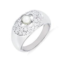 Królowa śniegu srebrny pierścionek z perłą i cyrkoniami