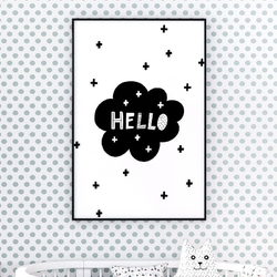 Hello cross - plakat dla dzieci , wymiary - 18cm x 24cm, kolor ramki - biały