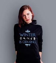 Winter is coming  damska bluza z kapturem czarna l