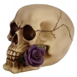 Czaszka z fioletową różą - figurka