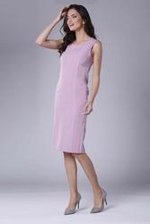 Jasnoróżowa szykowna sukienka ołówkowa bez rękawów