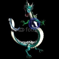 Obraz na płótnie canvas dwuczęściowy dyptyk magiczny smok azjatycki ze świecącą plazmą niebieską