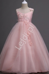 Sukienka dla dziewczynki z jasno różowego tiulu 708