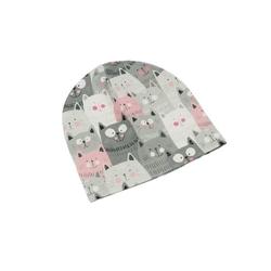 czapka dresowa koty szaro różowe 36-40 wiek 3-6 m-cy