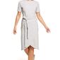 Szara dzianinowa sukienka z kopertową zakładką na dole
