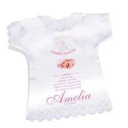 Koszulka szatka na chrzest różowa satynowa pamiątka chrztu ze zdjęciem - różowy duch święty