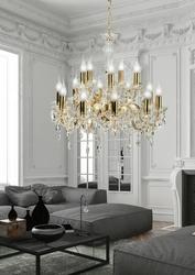 Żyrandol złoty z kryształami na 15 żarówek maria teresa candellux 30-95810