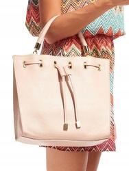 Torebka damska shopper bag skórzana rovicky różowa - różowy