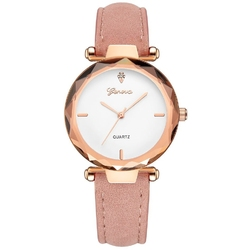 Zegarek damski geneva pasek nubuk różowy klasyczny