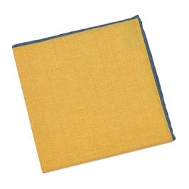 Elegancka żółta poszetka z niebieską obwódką