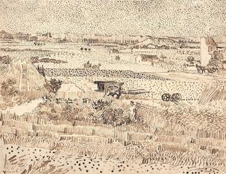 Harvest the plain of la crau, vincent van gogh - plakat wymiar do wyboru: 84,1x59,4 cm