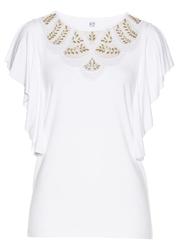 Shirt z koronką bonprix biały