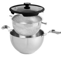 Mastrad - misa balancia z wkładem do gotowania na parze średnica 24 cm – zestaw 3 elementy