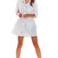 Luźna koszulowa biała sukienka z falbanką