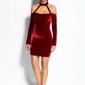 Bordowa sukienka ołówkowa mini z odkrytymi ramionami