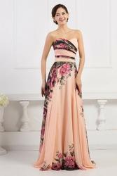 Kwiatowa długa suknia dekolt serduszko | kwiatowa elegancka na wesele, studniówki