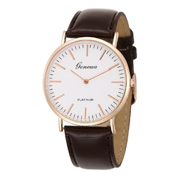 Zegarek damski męski GENEVA skórzany brązowy - brązowy