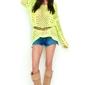 Ażurowy żółty sweter oversize