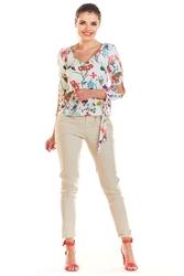 Ecru bluzka w kwiaty z wiązaniem na rękawach