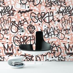 Lady graffiti - modna tapeta ścienna , rodzaj - próbka tapety 50x50cm