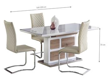 Stół rozkładany mollus 160-220x76 cm białydąb san remo