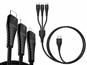 Kabel Rock Hi-Tensile 3w1 3A 1,2M USB-C + Lightning + Micro Czarny - Czarny