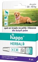 Happs herbal, krople przeciw pchłom i kleszczom dla dużych psów 20-40kg, 4 sztuki