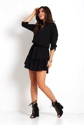 Czarna marszczona sukienka ze stójką zapinaną na guziki