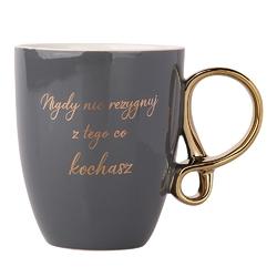 Kubek do kawy i herbaty porcelanowy z ozdobnym uchem altom design sentencje 300 ml popielaty
