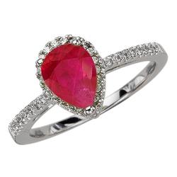 Staviori pierścionek. 35 diamentów, szlif brylantowy, masa 0,19 ct., barwa h, czystość si2. 1 rubin, masa 1,50 ct.. białe złoto 0,585. średnica korony ok. 10x8 mm.