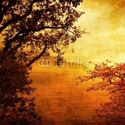 Obraz na płótnie canvas czteroczęściowy tetraptyk złoty zachód słońca