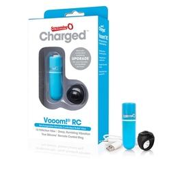 Potężny mini wibrator ze zdalnym sterowaniem - the screaming o charged remote control vooom bullet  niebieski