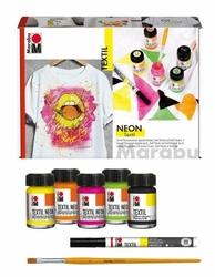 Zestaw farb do tkanin neonowych 5x15ml marabu textil neon