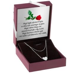 Srebrny naszyjnik z sercem pr. 925 prezent z grawerem i dedykacją