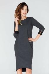 Ciemnoszara wygodna sukienka z kolorową lamówką