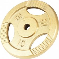 10 kg obciążenie żeliwne z uchwytem złote