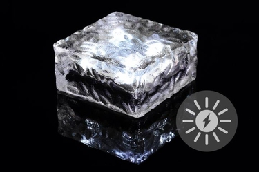 Lampka solarna led duża kostka szklana 9,5 x 9,5 cm