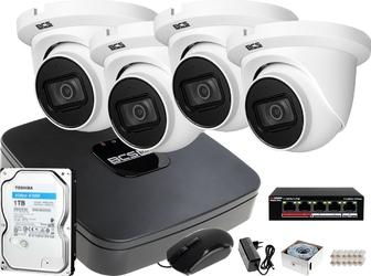 Rejestrator ip bcs bcs-nvr04015me-ii + 4x kamera fullhd bcs-dmip1201ir-e-v + dysk 1tb + akcesoria