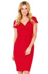 Czerwona Sukienka Mini z Kopertowym Dekoltem