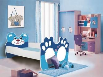 Łóżko dziecięce teddy biało-niebieskie z materacem 160 cm