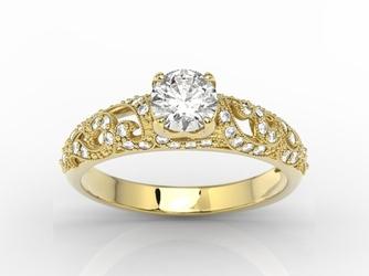 Pierścionek zaręczynowy z żółtego złota z białym szafirem i cyrkoniami bp-50z-c - żółte  szafir white
