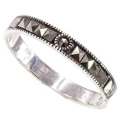 Edna 2 srebrny pierścionek z markazytami, obrączka