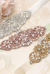 Ozdobny satynowy pasek do sukienek zdobiony perełkami i cyrkoniami - ivory rose gold p848