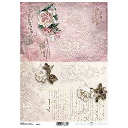 Papier ryżowy ITD A4 R1362 róże napisy