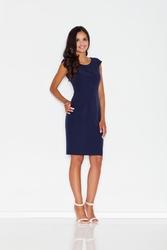 Prosta niebieska sukienka midi z przeszyciami